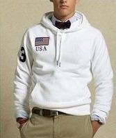 Top Quality Mens Polo Hoodies Brand USA Flag Tracksuits Jogging Cotton Sweatshirt Sports Coats Long Sleeve Jackets White