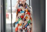 cartoon desigual women scarves Ethnic collision color bufandas spring summer sunscreen scarf shawl women accessories