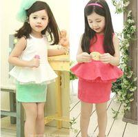 Retail new 2015 summer girls white green ruffles sleeveless t-shirt + skirt clothing set kids clothes sets outfits