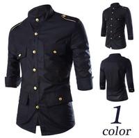 Mens Shirts Fashion 2015 Casual Dress Long Sleeve Camisas Social Slim Fit Masculina Clothing 4 Pockets Man Shirts High Quality