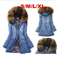 New Fashion Jeans Spring / Winter / Summer Coat 2015  Fur Hooded Long Denim Jacket Female Coats Women Casual Overcoat Plus Size
