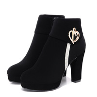 Cheap Fall 2015 New Europe And Round Head Of Dark Shoes Women's High Heel Platform Chunky Heels Rhinestone Boots Women's Shoes