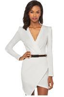 new year 2015 winter women office dresses White Long-Sleeve Cross Over Mini Dress roupas femininas vestidos curtos LC21680