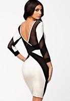 new 2015 Autumn dress Black White Mesh Cutout Long Sleeve Backless Dresses Midi Dress Party Dresses LC21698