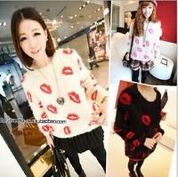 Thermal women's 2014 autumn mohair sweater vintage print line female top pullover velvet