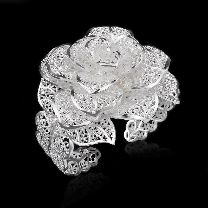 2015 Hot Sale Wholesale Fashion Jewelry 925 Sterling Silver Romantic Statement Flower Bangle Bracelet(China (Mainland))