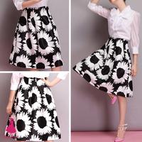 2015 Woman Retro Skirts Hepburn Sunflower Print High Waist Pleated A-line Midi Skater Swing Ball Gown Skirt