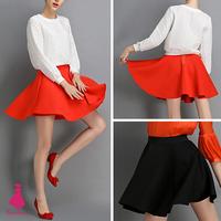 2015 Trendy Woman Vintage Hepburn Space Cotton Mini A-line Pleated Midi Tutu Swing Ball Gown Skirts Red Black