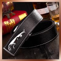 HOT Fashion Men's Leather Waist Strap Belts Smooth Buckle Silver Split Leather Luxury Man's Belt Leopard Buckle
