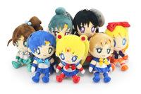 "7pcs/set Sailor Moon Mars Jupiter Venus Mercury Uranus Pluto Plush Toys Dolls With Tag Free Shipping 6""15cm Christmas Gift"