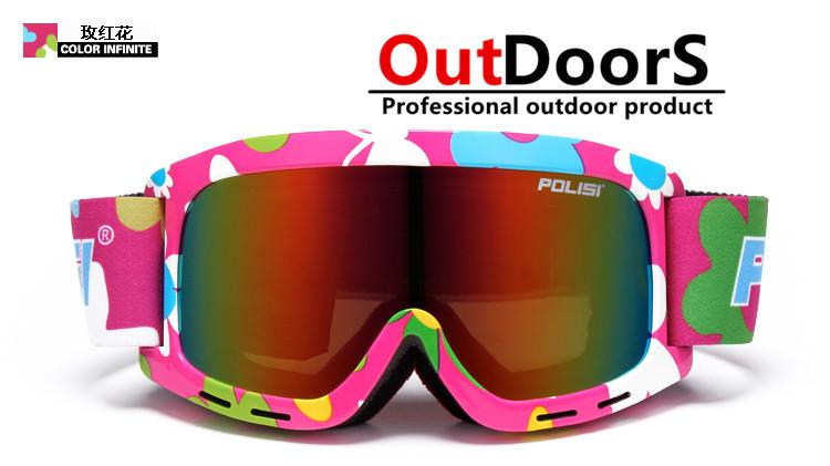 Shipping Free kid children ski goggle Double anti-fog large spherical lens kid Large wind ski glasses for men and women(China (Mainland))