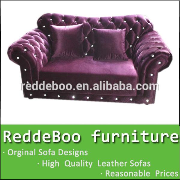 2015 most popular purple fabric chesterfield sofa set 718(China (Mainland))
