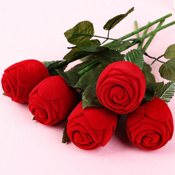 5pcs Red Rose Engagement Wedding Ring Earrings Keepsake Jewelry Gift Box(China (Mainland))
