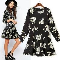 2015 Spring New In Vintage Flower print slim fit Dress European-Americn Style dress