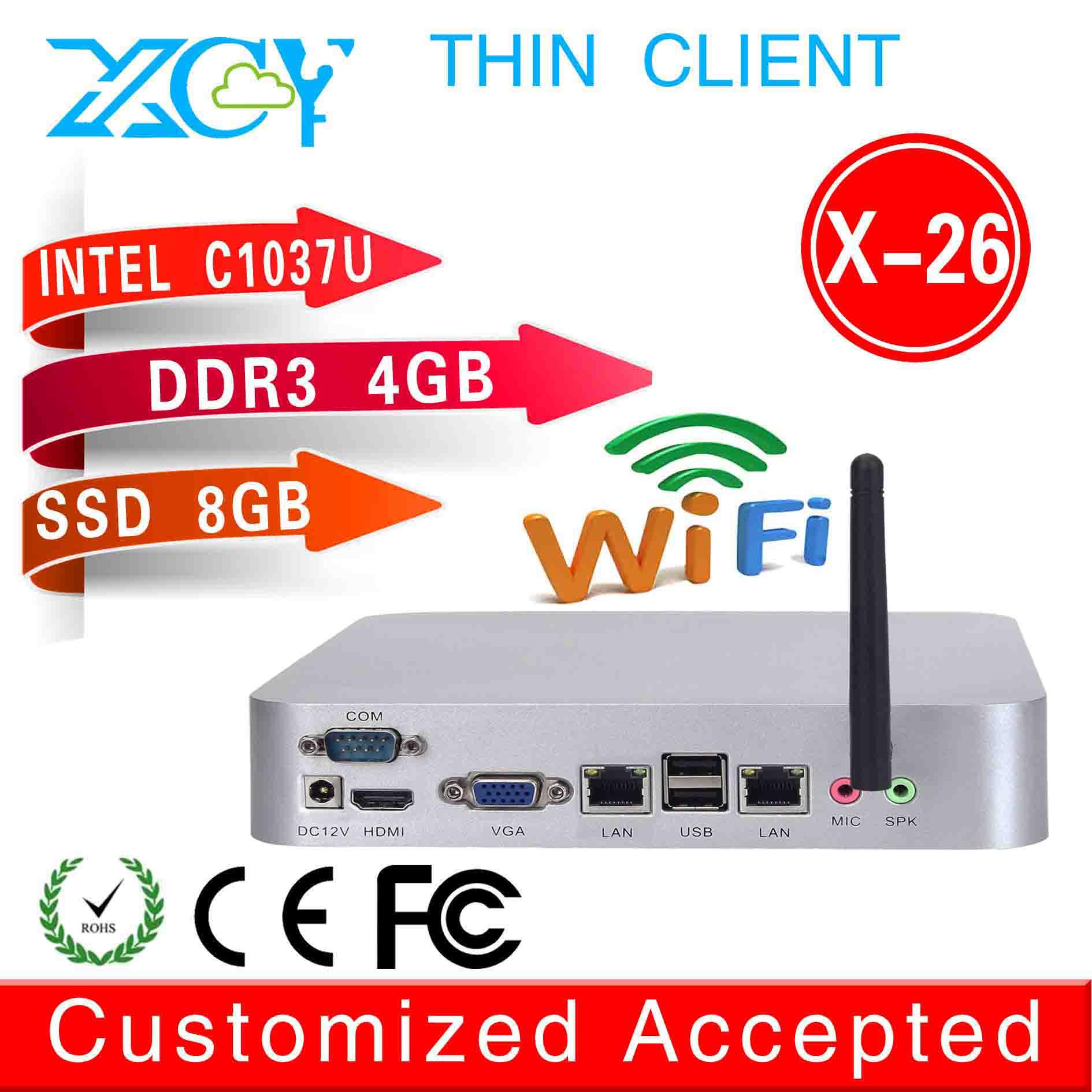 2015 all-powerful linux home preminum x-26 1037u dual core 2 lan thin client 4g ram 8g ssd fan desktop ABS x86 mini pc server(China (Mainland))