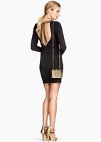 2015 Spring women's dresses Golden hammer bead collar brand dress Fashion Sexy Backless Evening Dress Good quality