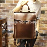 Vintage PU crazy horse leather unisex backpack mochila feminina mens rucksack tactical travel bags satchel women school bags
