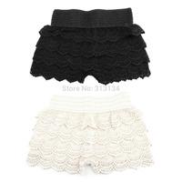 1pc 2014 New Woman Shorts Fashion Cotton Crochet Mercerized lining Mini Lace skirt Tiered Shorts Elastic Waist Slim Short Pants