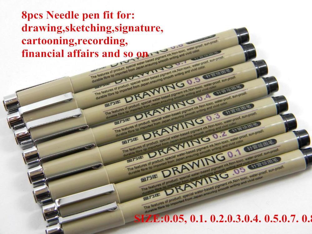 8 pcs/pack Jinwannian Needle Drawing Pen Hook Line Pen For Sketch Free Shipping(China (Mainland))