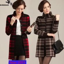 new 2015 Winter Women's cashmere sweater coat plaid wool coat long coat women coat winter plus size