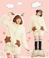 2014 women's autumn and winter overcoat sweet plush velvet antler with a hood gentlewomen outerwear