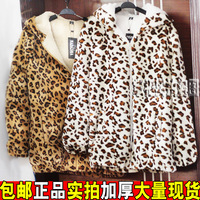 Thickening leopard print domesticated hen berber fleece loose with a hood outerwear wadded jacket cotton-padded jacket female