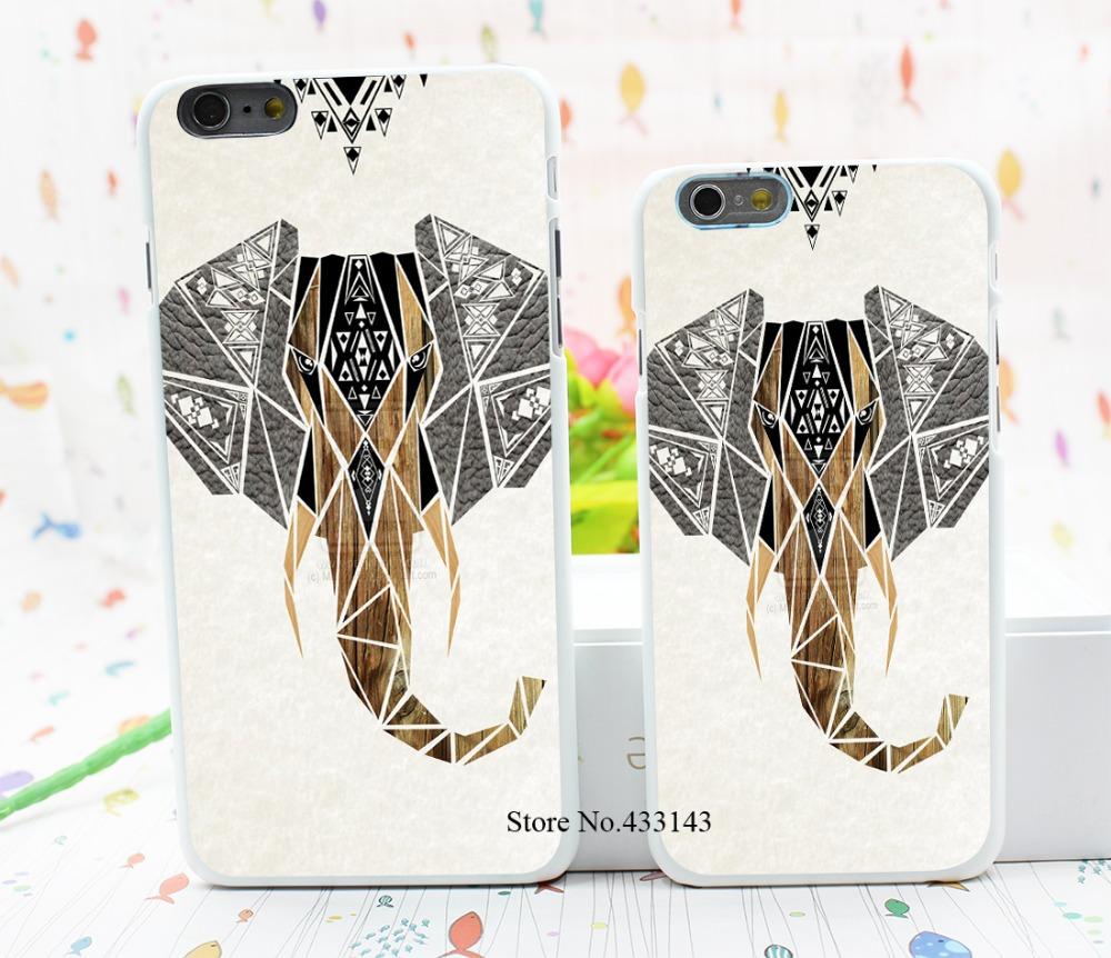 Geometric design new listing Elephant Style Hard White Cover Skin Back Case for iPhone 6 6s 6 plus(China (Mainland))