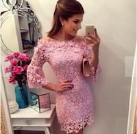 vestido de renda lace dress vestidos de festa vestido casual dress to sexy club party plus size gown winter dress pink LD49002
