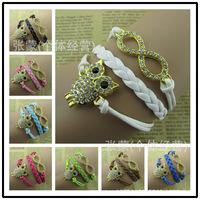 2015 Hot sale Europe fashion jewelry rhinestone owl more than eight wax rope bracelet retro pulseras