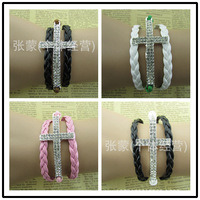 2015 Hot sale leather cord bracelet with drill cross retro pulseras