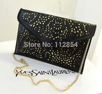 Free Shipping+Wholesale Vintage Style Women Hollow Out Envelope Clutch Shoulder Cross-body Purse Bags,30pcs/lot