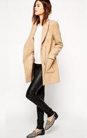 2014 New Spring Woolen Coat Womens Overcoat High Quality Fashion Women Casual Oblique Zipper Coat femininos Free Shipping