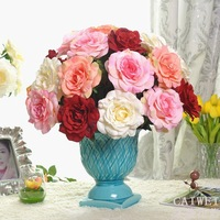 High simulation flower big flower holidays Valentine roses silk flower corsage living room table display (12 branches)