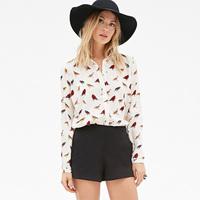 European Style Women New Fashion Chiffon bird printed  Long Sleeve Square Collar buttons  Chiffon shirt D701