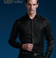 free shipping 2014 new style men's casual fashion Silk long sleeve shirt Silk shirt