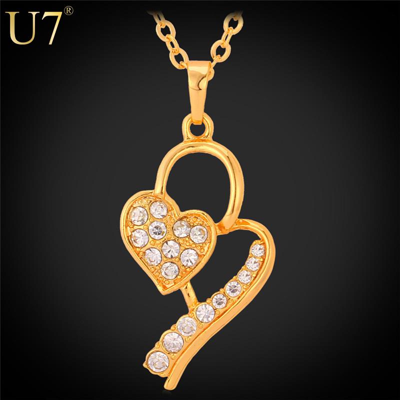 2015 Valentines Gift Romantic Heart Pendant Platinum/18K Gold Plated Rhinestone Jewelry Unique Design Heart Necklace Women P464(China (Mainland))