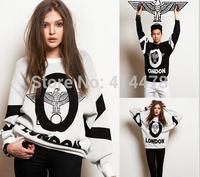 2015 New Harajuku Eagle Print HipHop Hoodies Women Sweatshirts Sweaters Personality Loose Pullovers Free Shipping Hoodie