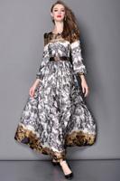High Quality New European Fashion Runway 2015 Spring Women Vintage Brand Print Long Sleeve Maxi Dress Elegant Lady Long Dress OL