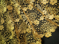 Free shipping by DHL 2015 african cord laces gold guipure lace fabric for wedding dress