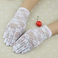 Summer Sun Ladies Women's  Lace Gloves Short White Gloves Bridal Etiquette Thin Full Finger Glove Korean Free Shipping #M00258