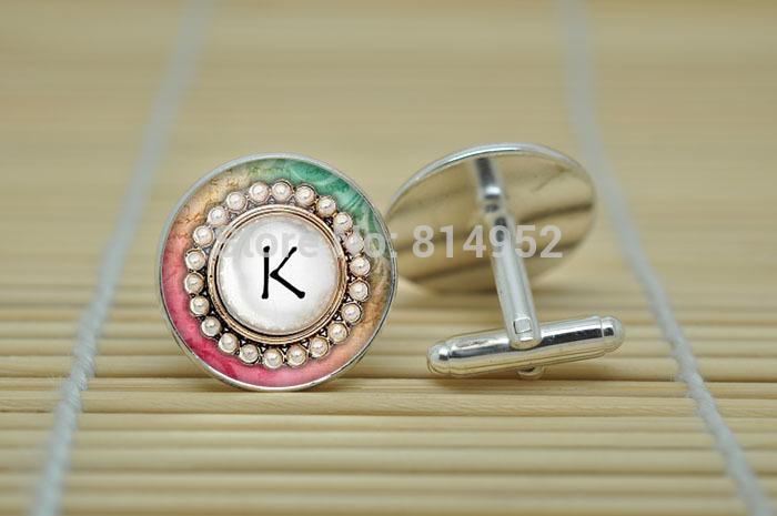 10 par da letra K jóias carta abotoaduras iniciais em prata de vidro cabochão abotoaduras C1429(China (Mainland))