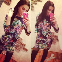 Office Pencil Dresses 2015 New Fashion Casual Floral Printed Vestidos Bodycon Work Flower Sexy Mini Winter Long Sleeve HBQ108