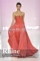 2015 Elegant Crew Neck A Line Evening Dresses Applique Zipper Floor Length Chiffon Evening Gowns Prom Dresses