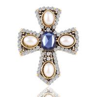 New Design hot Fashion Pearl Rhinestone Cross Brooch jewelry Vintage Blue gem luxury brooches for women Accessories  2015 M12