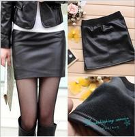 Female Autumn and Winter Plus Velvet Skirt Black Thick Skirts Women Imitation Leather Skirt Free Shipping