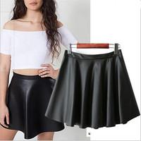 Women Faux Leather Circle Skirt Girl'sCasual Pleated Mini Skirt Female Skater Skirt Autumn WInter Skirt