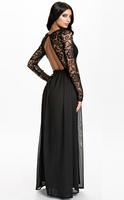 New Women High Quality Sexy O-neck Backless Chiffon Lace Patchwork Elegant Floor-Length Party Evening Dress vestidos XS-XXL