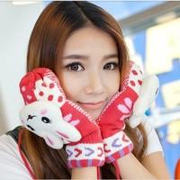 Hot Sale Women's Winter Rabbit Cartoon Woolen Gloves Winter Radish Ladies Thick Knit  Mittens  Gloves Free Shipping #M00267