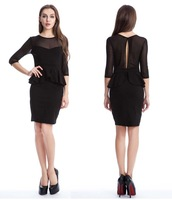European and American new fall wear Half Sleeve transparent mesh flounced sexy woman dress black