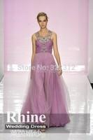 2015 Elegant Crew Neck Crystal Sheath Evening Dresses Applique Floor Length Chiffon Evening Gowns Prom Dresses